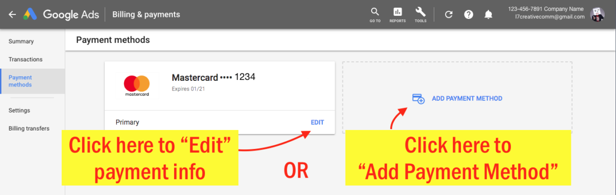 Edit Your Google Ads Payment Info - Step 5 Screenshot