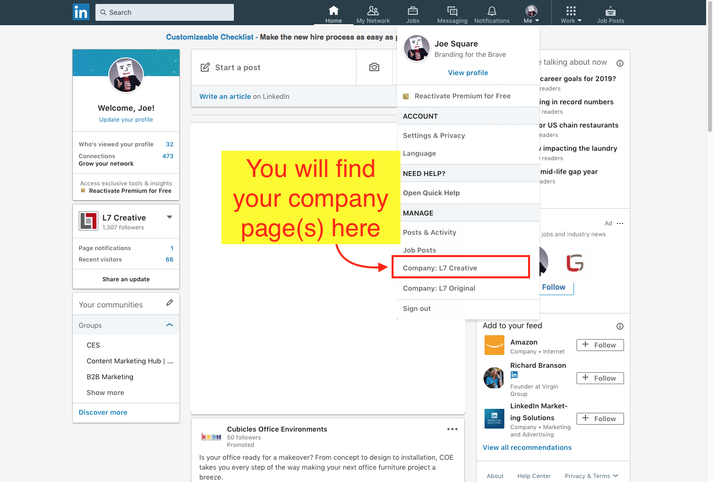 How to Find an Existing LinkedIn Company Page - Step 3 Screenshot
